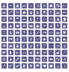 100 children icons set grunge sapphire vector image vector image