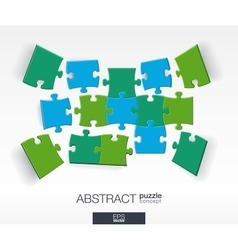 Abstract background with connected color puzzles vector image