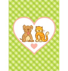 cat and dog and background vector image