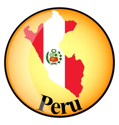 orange button with the image maps of Peru vector image vector image