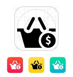 Shopping basket with dollar sign icon vector image