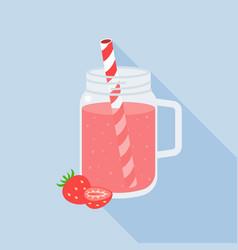 strawberry juice in mason jar flat design vector image vector image