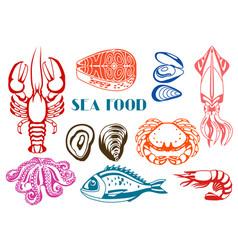 various seafood set of fish vector image