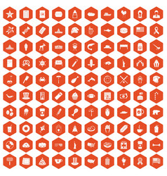 100 usa icons hexagon orange vector