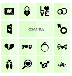 14 romance icons vector