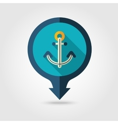 Anchor pin map flat icon Summer Vacation vector