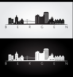 bergen skyline and landmarks silhouette vector image