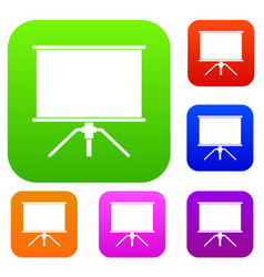blank projection screen set color collection vector image
