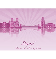 Bristol skyline in purple radiant orchid vector