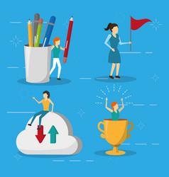 Business women flag trophy cloud storage vector