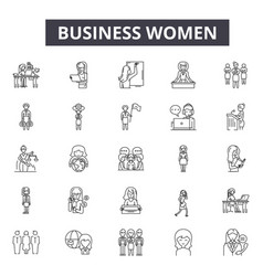 Business women line icons for web and mobile vector