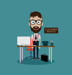 Businessman working behind office desk vector