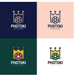 camera photography with royal crown logo icon vector image