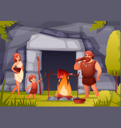 Caveman family flat composition vector