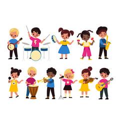Children music orchestra kids music multiracial vector