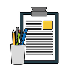 clipboard report pencil case filled vector image