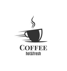 coffee cup logo fast coffee design on white vector image