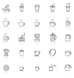 Coffee line icons with reflect on white vector