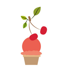 colorful silhouette of ball ice cream in cup with vector image