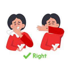 Coronavirus covid19-19 awareness elbow cough vector