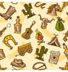Cowboy seamless pattern color vector image