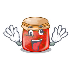 crazy strawberry jam glass isolated on cartoon vector image
