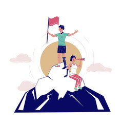 disabled people conquering mountain peak vector image