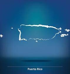 Doodle Map of Puerto Rico vector