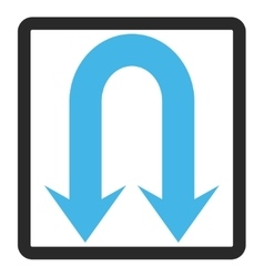 Double Back Arrow Framed Icon vector image