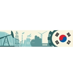 Energy and Power icons set Korea flag vector