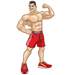 Fitness men pose by showing his athletic body vector