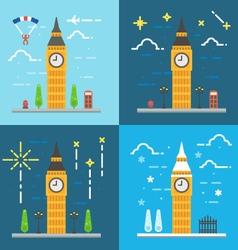 flat design 4 styles big ben clock tower london vector image