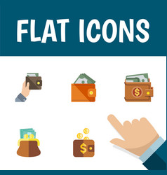flat icon billfold set of payment wallet purse vector image