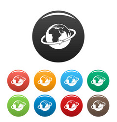 flight around earth icons set color vector image