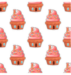 glazed donuts flat seamless pattern vector image