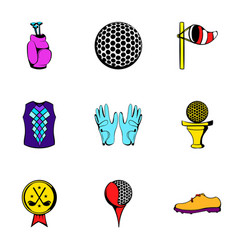 Golf icons set cartoon style vector