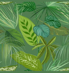 green tropical leaves and branches seamless vector image