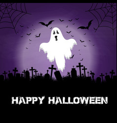 halloween background with ghost and graveyard vector image