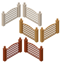 isometric set of farm or garden fences isolate vector image