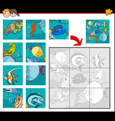 jigsaw puzzles with sea life characters vector image