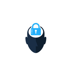 Lock human head logo icon design vector