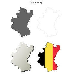 Luxembourg outline map set - Belgian version vector
