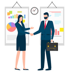 man and woman business partners agreement vector image