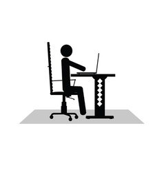 Man sitting at the computer vector