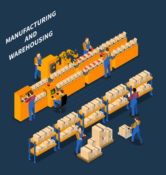 manufacturing warehouse isometric composition vector image