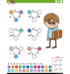 Math calculation educational worksheet page vector