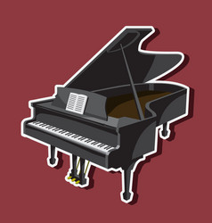 Musical instrument grand piano on a white vector