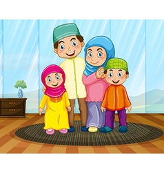 Muslim family in the living room vector