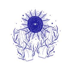 Mystic sun in hand esoteric signmagic life vector