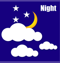 night sun clouds vector image